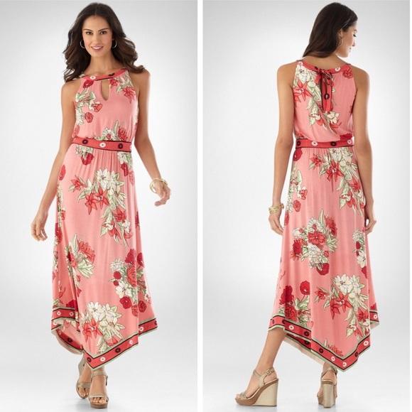 9d031cc117 Soma Dresses   Floral Peony Print And Scarf Hem Maxi Dress M   Poshmark